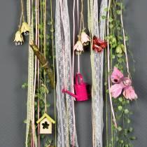 Decorative birds on clip pink / purple 9cm 8pcs