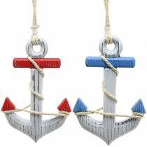 Decorative anchor wood red / blue, white 15 × 23.5cm, set of 2