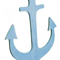 Anchor hanger wood blue, white summer decoration to hang 8pcs