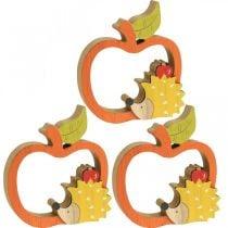 Decorative figure autumn, apple with hedgehog, wood decoration 16.5 × 15cm 3pcs