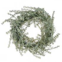 Artificial asparagus wreath white, gray Decorative asparagus wreath Ø20cm