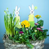 Easter bunny stand green bunny wood Easter decoration 4pcs