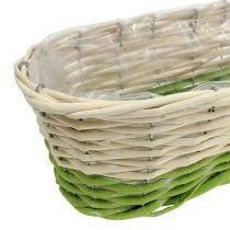 Balcony box oval 48x18cm H14cm cream, green