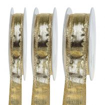 Ribbon with wire edge gold 25m