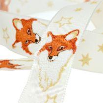Christmas ribbon with decor fox cream 25mm 20m