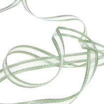Gift ribbon mint green with silver 15mm 20m