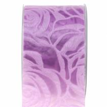 Deco ribbon roses wide lilac 63mm 20m