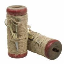 Spool of thread with decorative scissors Ø6.5cm H15cm 2pcs vintage style