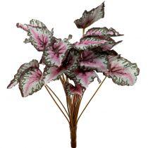 Artificial begonia bush green, violet 34cm