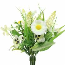 Spring bouquet with bellis and hyacinth artificial white, yellow 25cm
