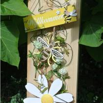 Decoration to hang bees yellow, white, golden wood summer decoration 6pcs