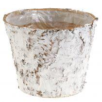 Decorative pot whitewashed birch Ø18cm H15cm
