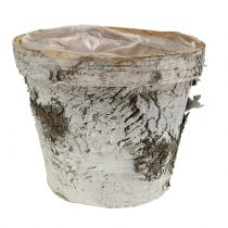 Birch pot with rim medium Ø16cm H13cm white