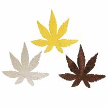 Scattered deco leaves yellow, brown, platinum assorted 4cm 72p