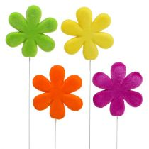 Flower plug blossom colored flocked Ø8,5cm 8pcs