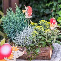 Flower pin hedgehog, wood decoration, autumn figure H9.5cm L32cm 12pcs