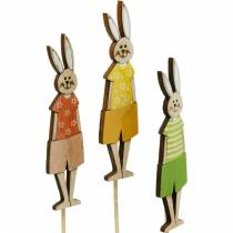 Flower plug Easter bunny on a stick Wooden bunny decoration plug Easter decoration 9pcs