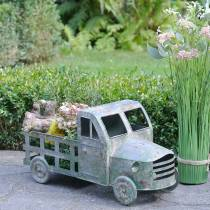 Flower pot truck zinc gray, green 42 × 17.5 × 19.5cm