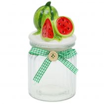 Bonbonniere made of glass with fruit lid melon H15.5cm