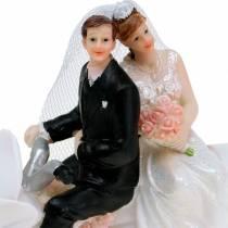 Bridal couple figure on motorcycle 12cm