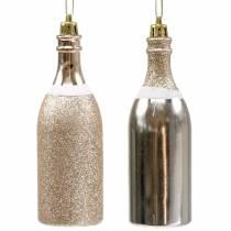 Champagne bottle to hang light gold 10pcs
