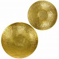 Golden decorative bowl metal Ø35 / 46cm, set of 2