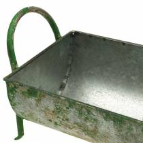 Decorative zinc trough for planting with handles gray, green 60 / 43cm set of 2