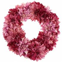 Dahlia blossom wreath old rose, mallow Ø42cm