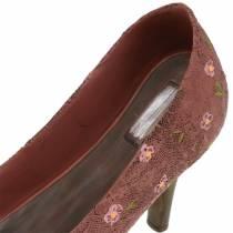 Decorative shoe planting shoe Pump brown 24cm × 8cm H13.6cm