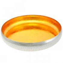 Decorative bowl metal round Golden & silver tray Ø36.5cm