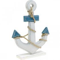 Deco anchor wood to set table decoration maritime blue, white H24cm