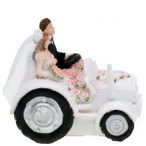 Decorative bride and groom on tractor H10cm