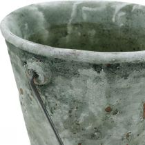 Plant bucket, garden decoration, ceramic bucket, antique optic planter Ø16cm H13.5cm