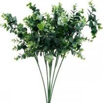 Decorative eucalyptus branch dark green Artificial eucalyptus Artificial green plants 6pcs