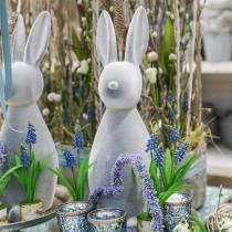 Decorative bunny gray flocked 47cm Easter bunny decoration Easter