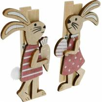 Decorative clips bunnies Easter bunnies pink, white wood Easter decoration 4pcs