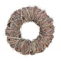 Decorative wreath nature Ø33cm washed white