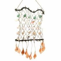 Decorative net for hanging with shells, natural 25 × 45cm
