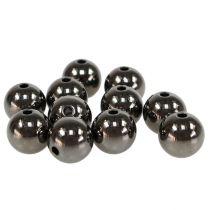 Decorative pearls anthracite metallic 14mm 35pcs
