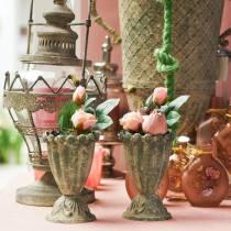 Decorative cup, antique look, metal, moss green, Ø9cm, H14.5cm