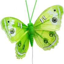 Decorative butterflies green feather butterfly on wire 7.5cm 6pcs
