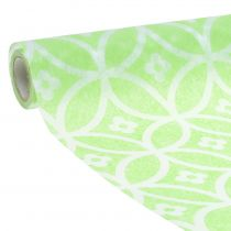 Decorative table ribbon with flowers light green 30cm x 300cm
