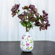 Decorative vase white flowers Ø11cm H17.5cm