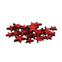 Scattered wooden stars red 3-5cm 72pcs