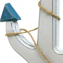 Decorative anchor wood white, blue Wooden anchor for hanging 23cm