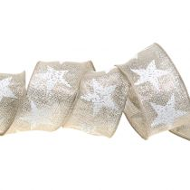 Christmas ribbon with star pattern nature, silver 40mm 15m