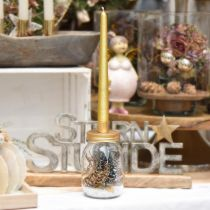 Decorative glass with candle holder golden metal lid Ø8.5cm H16cm