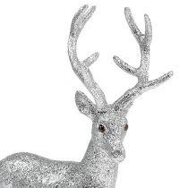 Deco deer silver, mica H32cm W25cm