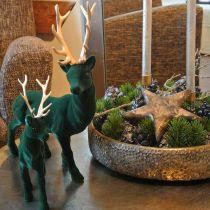 Deer standing deco figure green gold table decoration Advent 27cm