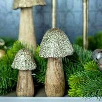 Decorative mushroom metal wood golden, nature table decoration autumn 18.5cm